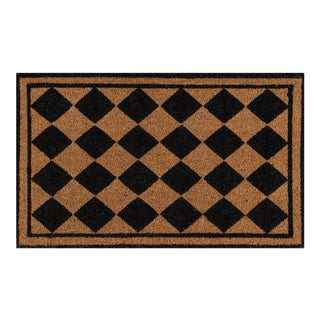 Erin Gates by Momeni Park Harlequin Black Hand Woven Natural Coir Doormat - 1′6″ × 2′6″