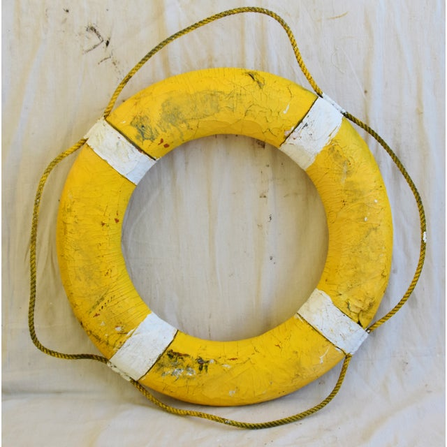 Rope 1950s Nautical New England Yellow Life Preserver For Sale - Image 7 of 7