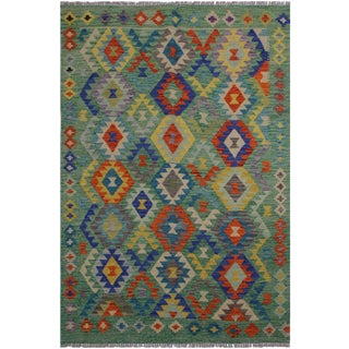 """Kilim Christen Green Hand-Woven Wool Rug -4'10"""" X 6'5"""" For Sale"""