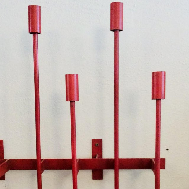 Mid-Century Modern Mid-Century Modern Don Drumm Red Wall Sconce Candelabra For Sale - Image 3 of 9