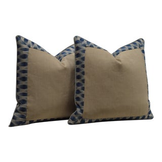 """Pair of Custom 20"""" Navy and Taupe Ikat Pillows For Sale"""