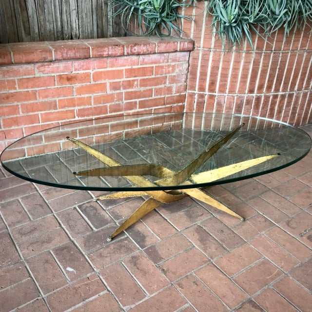 1960s 1960s Silas Seandel Brutalist Gold Metal + Glass Coffee Table For Sale - Image 5 of 7