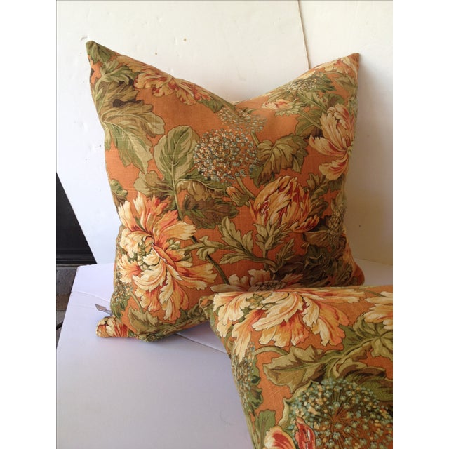 Newport Orange Floral Pillows - S/2 - Image 4 of 8