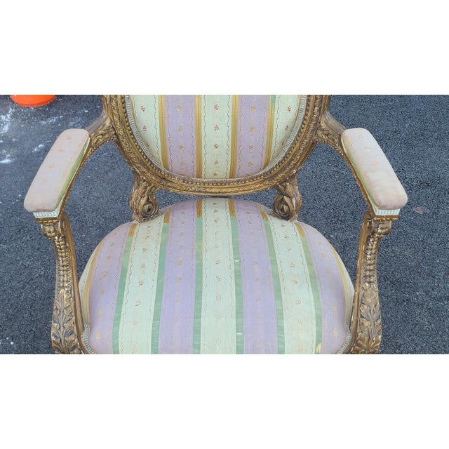 Fine Early 19th Century French Louis XVI Style Gilded Parlor Armchair For Sale - Image 4 of 12