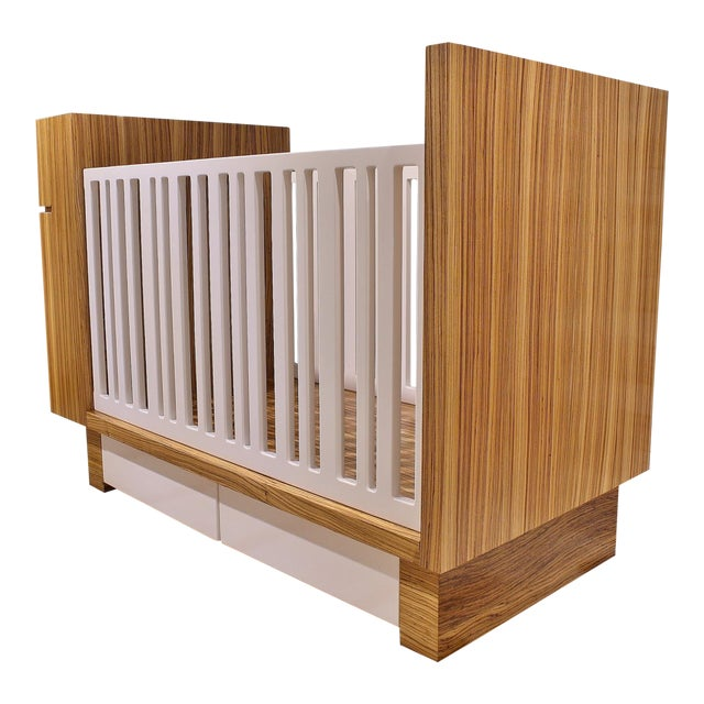 Modern Zebrawood Crib and Built-In Changing Table For Sale