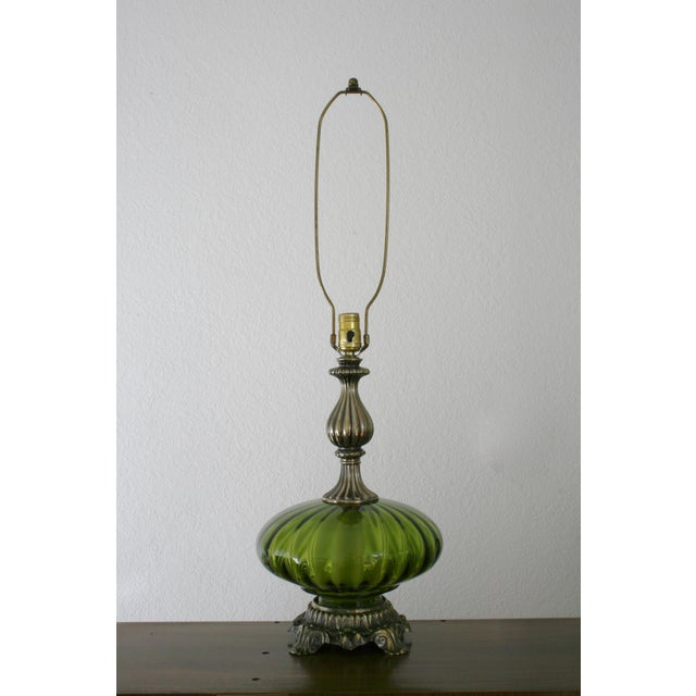 These green glass table lamps are stunning! They could bring together an entire room and give it just the right vintage...