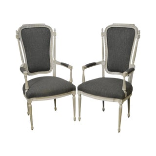 French Louis XVI Style Custom Painted Fauteuils Arm Chairs - a Pair