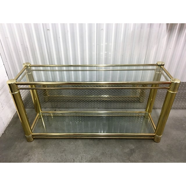 Brass Frame Double-Tier Glass Console Table - Image 2 of 6