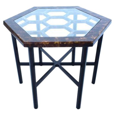 John Widdicomb Tortoiseshell Honeycomb Side Table For Sale