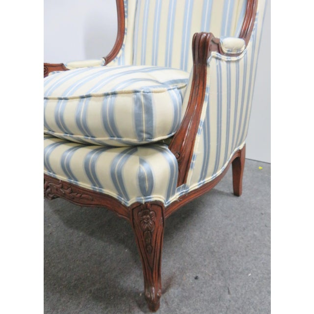 Fabric Louis XV Style Walnut Wing Chair For Sale - Image 7 of 8