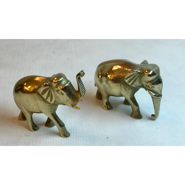 Metal Vintage Brass Elephants - a Pair For Sale - Image 7 of 7