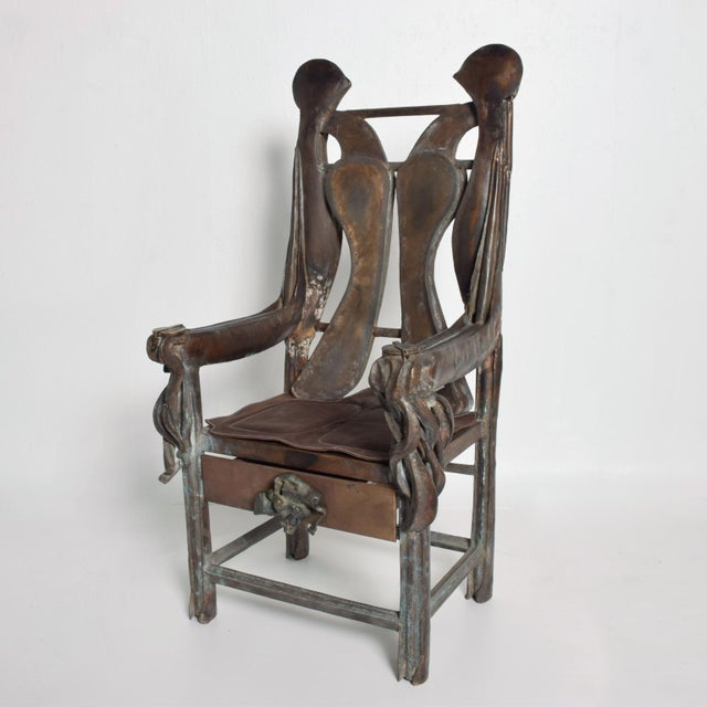 Brutalist Sculptural Bronze Arm Chair Signed Zavala, Game of Thrones Era For Sale - Image 11 of 11