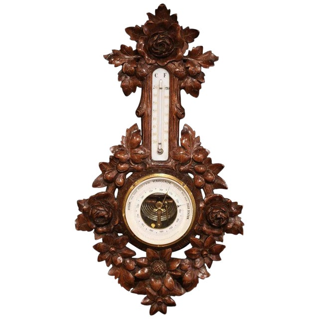 19th Century French Black Forest Carved Walnut Barometer For Sale