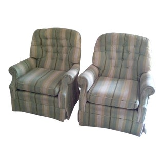 1970s Vintage Swivel Rocking Club Chairs Tufted - A Pair For Sale