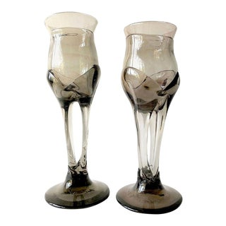 1970s James Wayne Organic California Studio Glass Goblets - A Pair For Sale