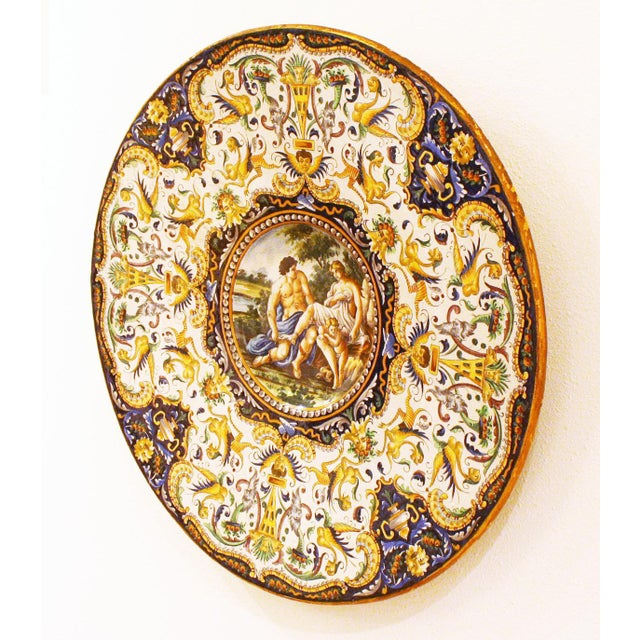 Two Large Renaissance Style Hand Painted Faience Chargers - Image 3 of 7