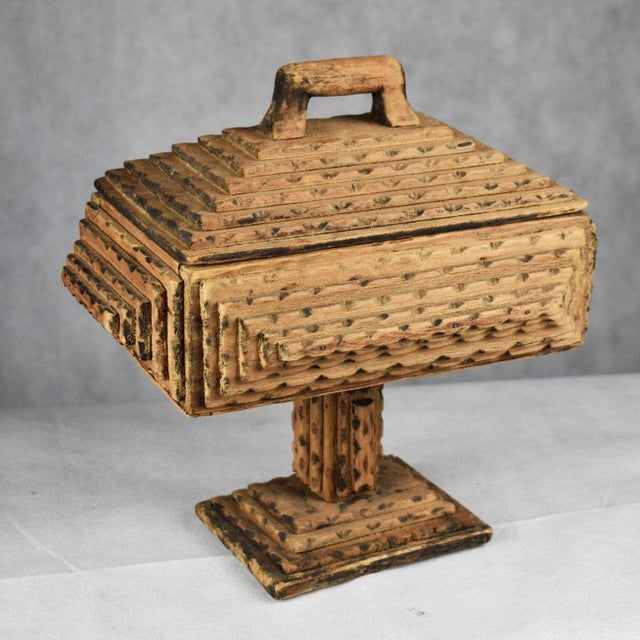 Folk Art Antique Hand Carved Wood Tramp Art Keepsake Box With Lid on Stand For Sale - Image 3 of 8