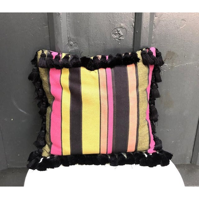 1970s Black & Multicolored Striped Tasseled Throw Pillow For Sale - Image 5 of 5