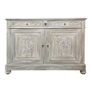 19th Century Country French Louis XVI Whitewashed Buffet For Sale