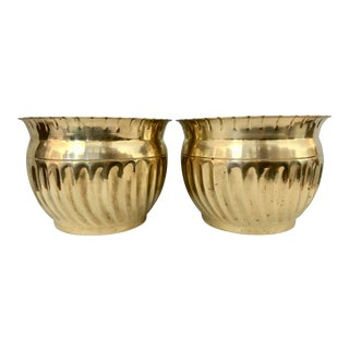 Classic Pair of Solid Brass Planters For Sale