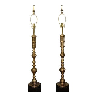 Custom Moroccan Brass Lamps - a Pair For Sale