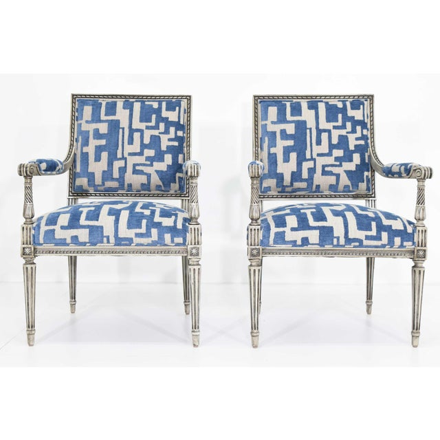 Louis XVI Style Lounge Chairs in Blue/Taupe - a Pair For Sale - Image 11 of 11