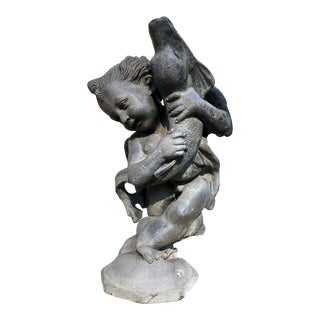 Antique English Garden Fountain Centerpiece of a Putto Holding a Dolphin For Sale