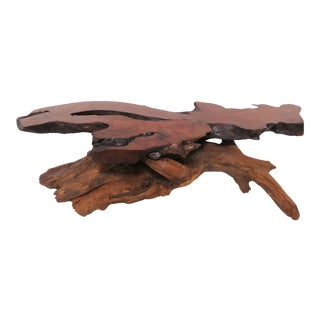 Live Edge Redwood Burl and Driftwood Coffee Table in Manner of Daryl Stokes For Sale