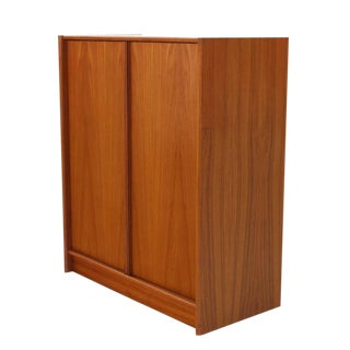 Mid Century Danish Modern Teak Chifferobe Cabinet For Sale