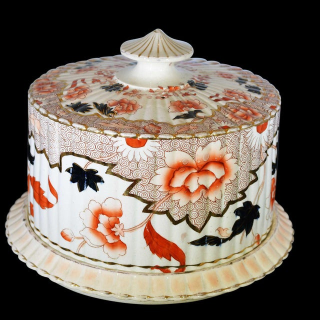 White Victorian English Ceramic Cheese Dome With Printed and Hand Painted Decoration For Sale - Image 8 of 13