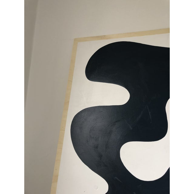 Wood Navy and White Abstract Diptych on Wood For Sale - Image 7 of 11