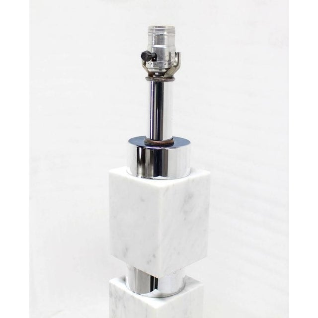Early 20th Century Chrome and Marble Stacked Blocks Table Lamp For Sale - Image 5 of 6