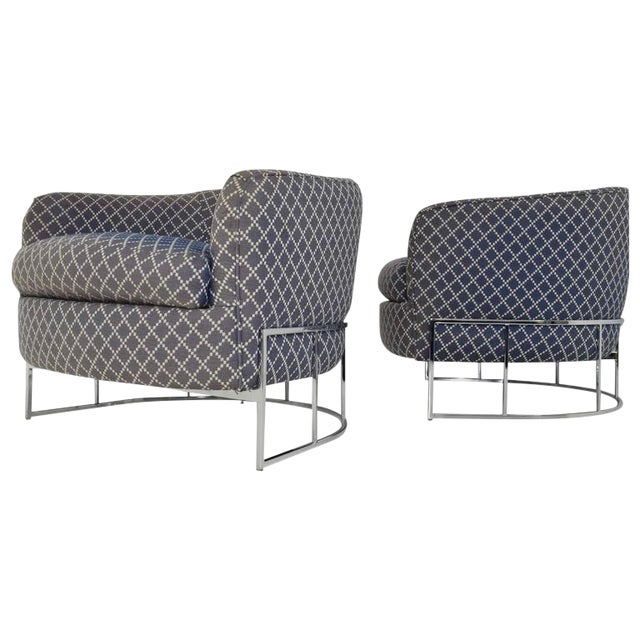 Unique Pair of Milo Baughman/Thayer Coggin Lounge Chairs with Chrome Frame - Image 1 of 7