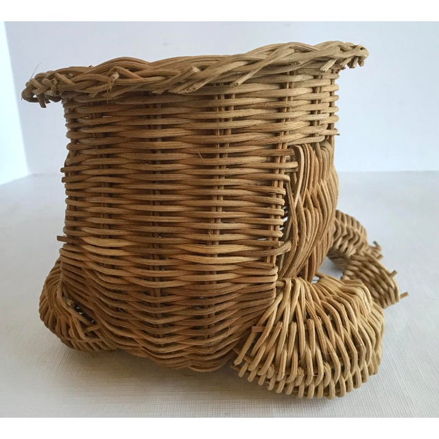 Mid 20th Century 20th Century Country Wicker Frog Planter Basket For Sale - Image 5 of 9