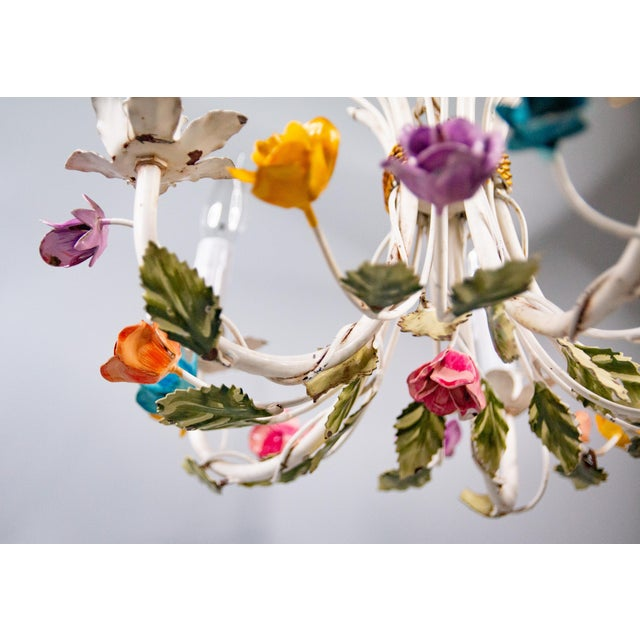 Mid 20th Century Vintage Mid-Century Italian Tole Roses Five Arm Chandelier For Sale - Image 5 of 9