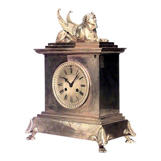 French Empire Bronze Sphinx Mantel Clock For Sale
