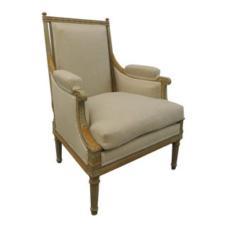 19th Century French Neoclassical Fauteuil With Carved Wood Frame and Linen Upholstery