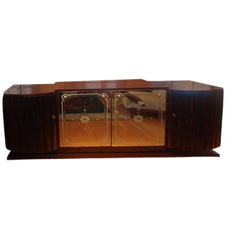 1930s Art Deco Credenza With Mirrored Doors For Sale