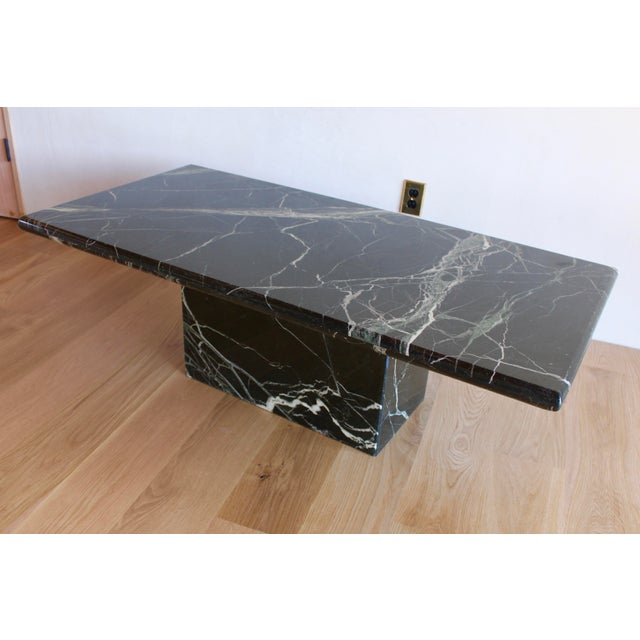 Sculptural Mid-Century Italian Vert d'Egypt Green Marble Pedestal Coffee Table For Sale - Image 11 of 13