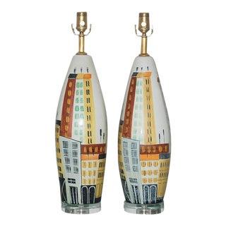 Bitossi Italian Ceramic Cityscape Table Lamps For Sale