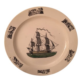 Vintage Creamware Nautical Plate For Sale