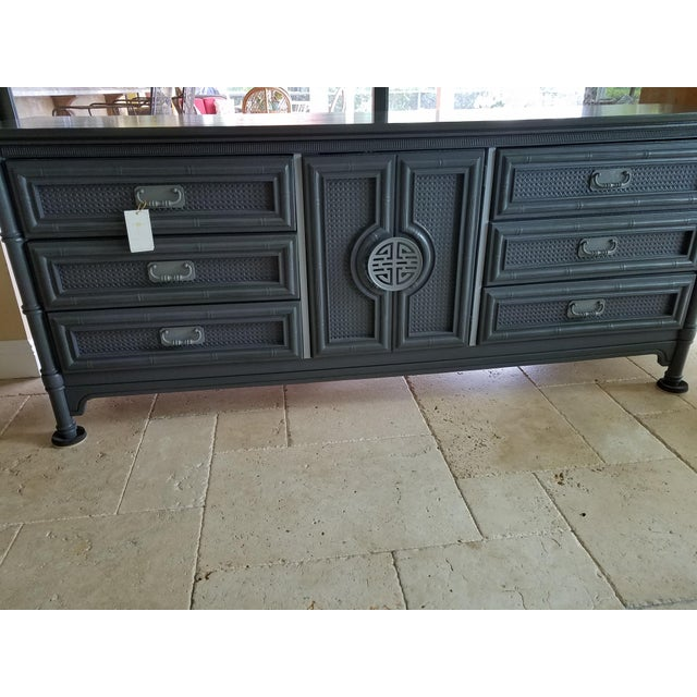 Vintage Wood Faux Bamboo Credenza & Mirror For Sale In West Palm - Image 6 of 9
