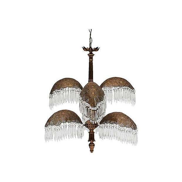 Gold Brass Palm Frond Chandelier W/ Prisms For Sale - Image 8 of 8