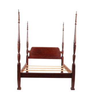 Sale!! Vintage Colonial Style Mahogany Queen Size Four Poster Bed Frame For Sale