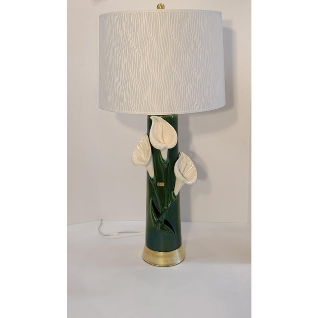 1950s Peace Lily Ceramic Lamp With Shade by Haeger For Sale - Image 5 of 13