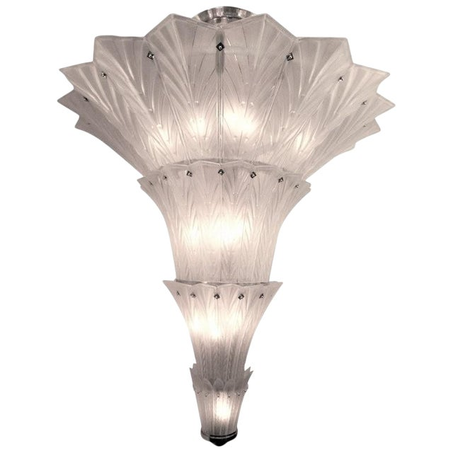 Palatial, Gigantic French Art Deco Art Glass Chandelier by Sabino For Sale