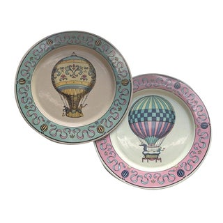 Vintage Hot Air Balloon Lillian Vernon Decorative Plates - a Pair For Sale