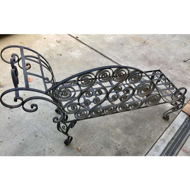 French Lovely Antique French Hand Forged Wrought Iron Chaise For Sale - Image 3 of 6