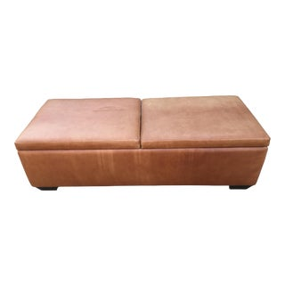 Custom-Made Brown Leather Storage Ottoman For Sale