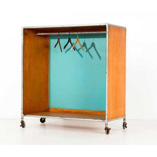 Mid-Century Modern Henry P. Glass Rolling Closet For Sale - Image 3 of 11